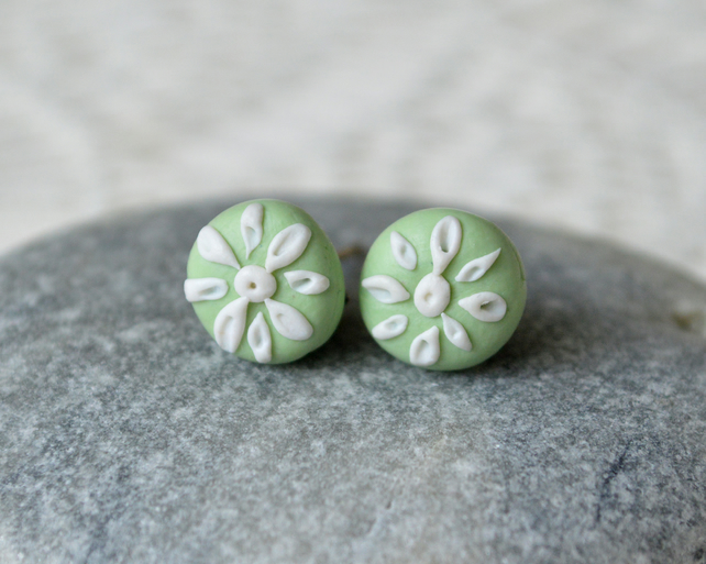 Pale Green & White Polymer Clay Stud Earrings
