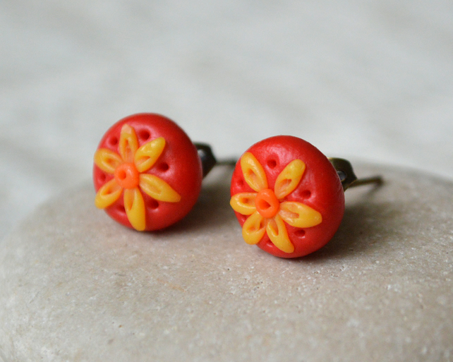 Summery Polymer Clay Stud Earrings