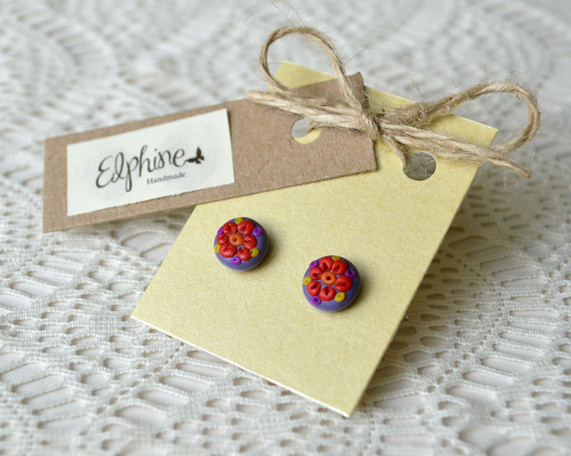 Polymer Clay Stud Earrings with Flower Design