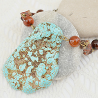 Irregular One-of-a-kind Turquoise Pendant Necklace