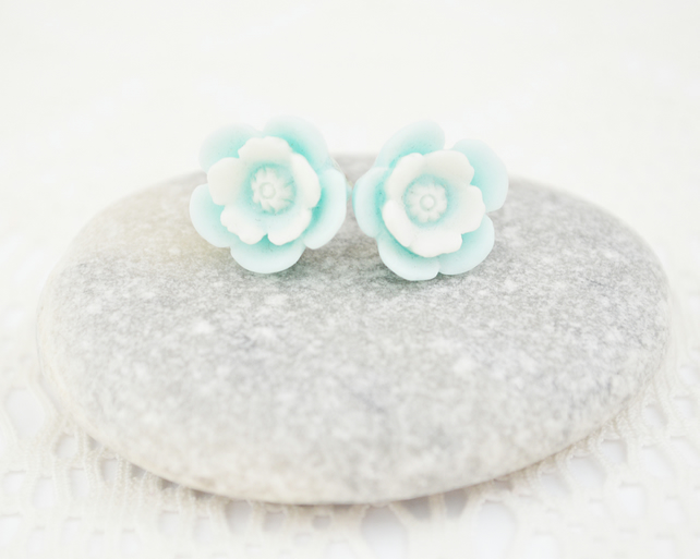 Pale Blue Flower Stud Earrings