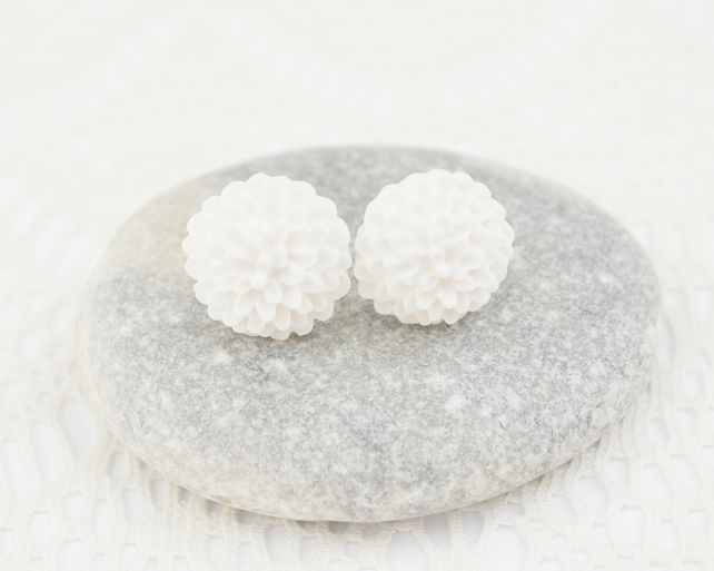 White Dahlia Earrings