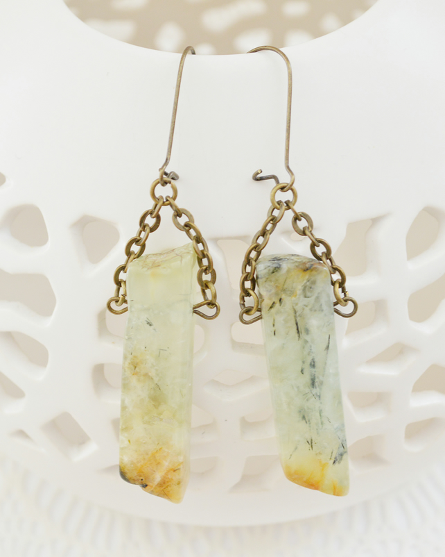 Long Irregular Prehnite Earrings