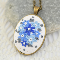 Polymer Clay Floral Pendant in Shades of Blue