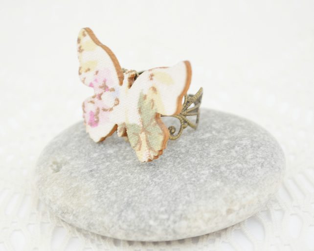 Statement Ring with Decoupage Wooden Butterfly
