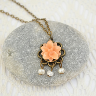 Sale! 50% off! Pendant Necklace with Peach Flower