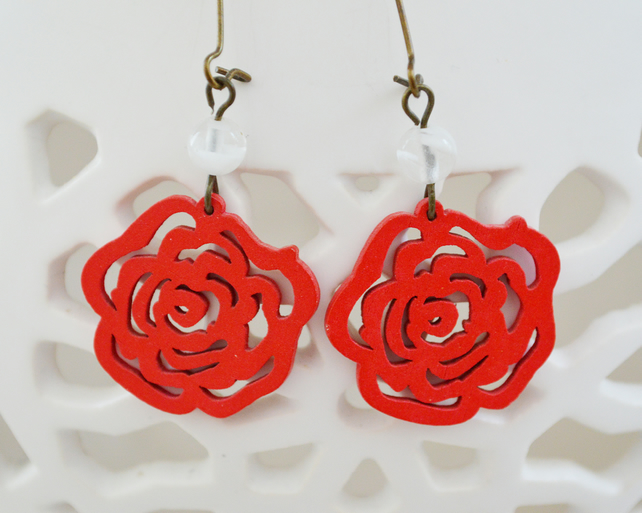Red Rose Wooden Filigree Earrings