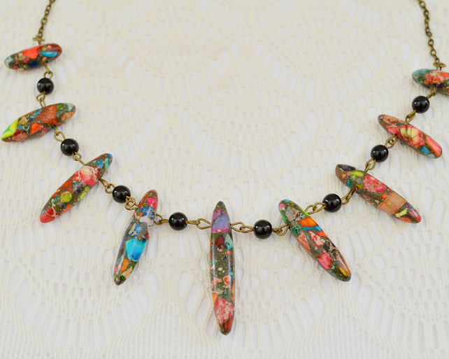 Rainbow Jasper Spike Necklace