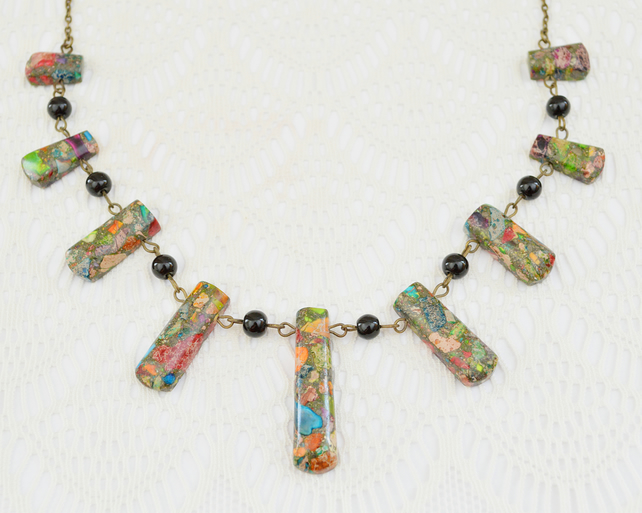 Fan Necklace with Rainbow Jasper