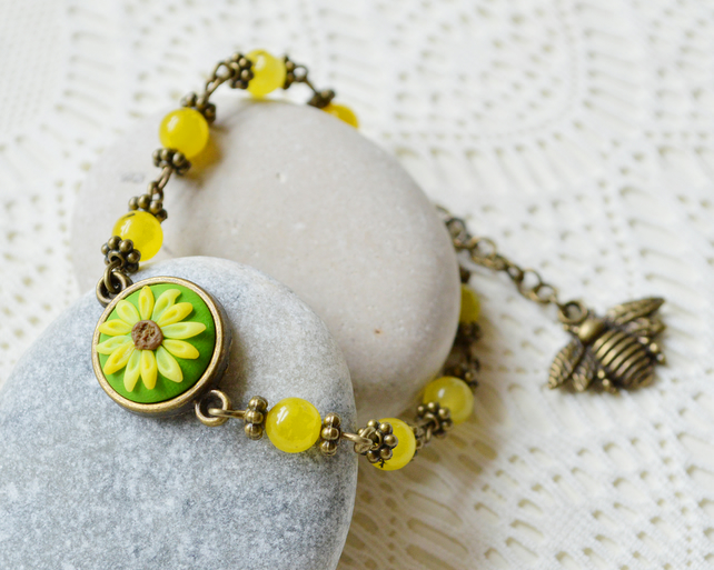 Polymer Clay Sunflower & Bumble Bee Bracelet
