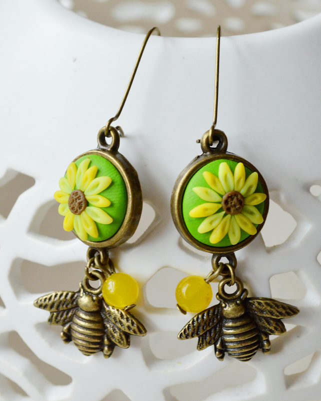 Polymer Clay Sunflower & Bumble Bee Earrings
