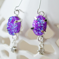 Purple Druzy Agate and Silver Star Earrings