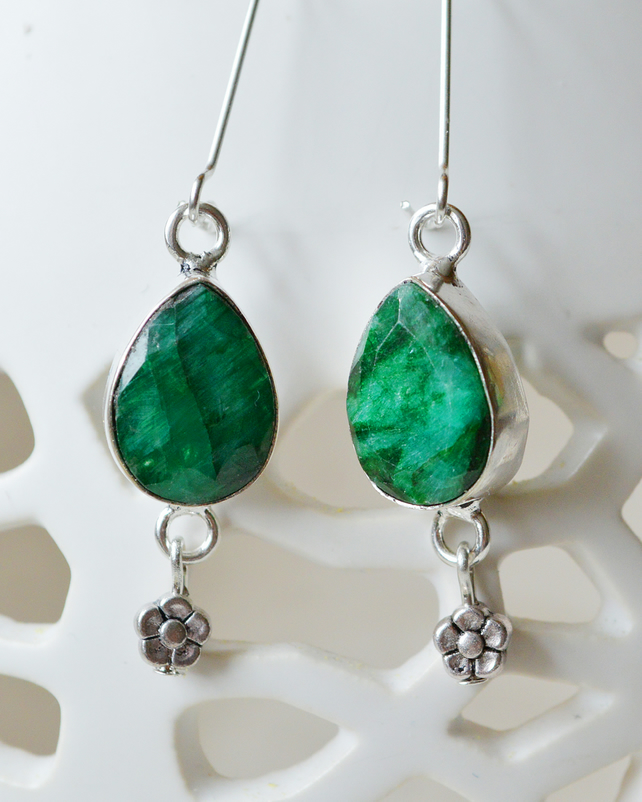 Raw Emerald Teardrop and Silver Flower Earrings