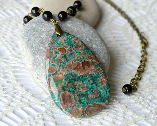 Green & Brown Agate Pendant
