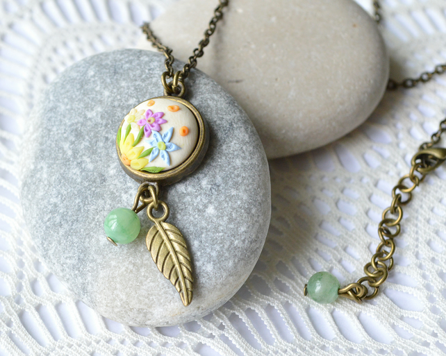 Dainty, Floral, Polymer Clay Pendant Necklace