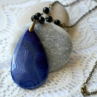 Royal Blue Agate Gemstone Pendant Necklace