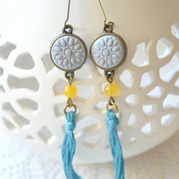 Sky Blue Tassle Earrings