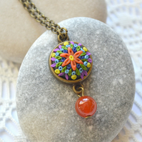 Dainty, Polymer Clay Cabochon Necklace