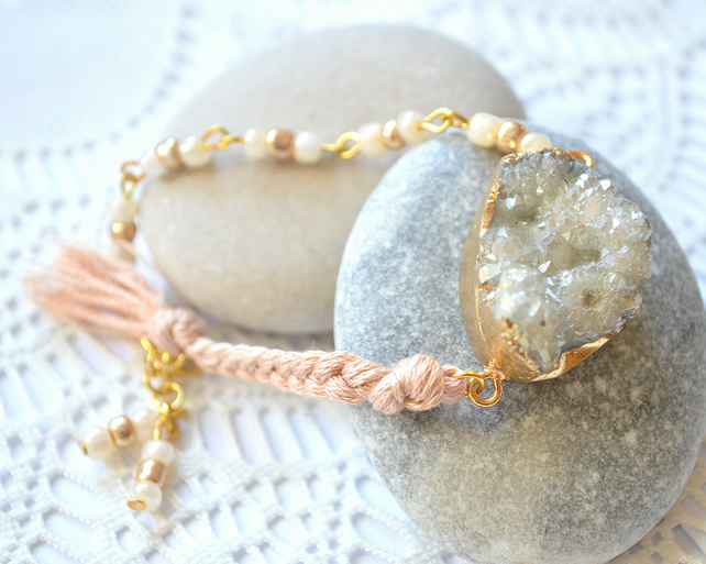 One-of-a-kind, Pale Grey, Druzy Agate Bracelet