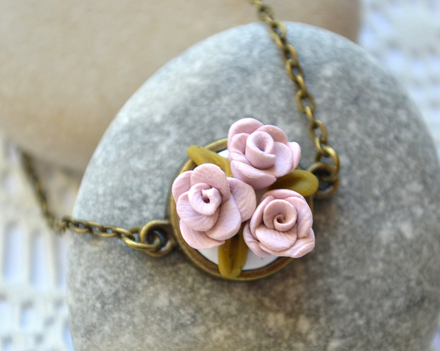 Dainty, Polymer Clay, Pink Flower Pendant Necklace