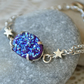 Purple Druzy Agate and Silver Star Bracelet