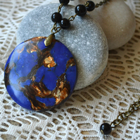 Deep Blue & Copper Jasper Pendant Necklace