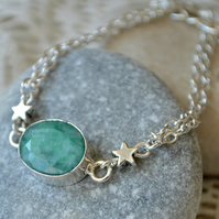 Raw Emerald Bracelet with Silver Stars