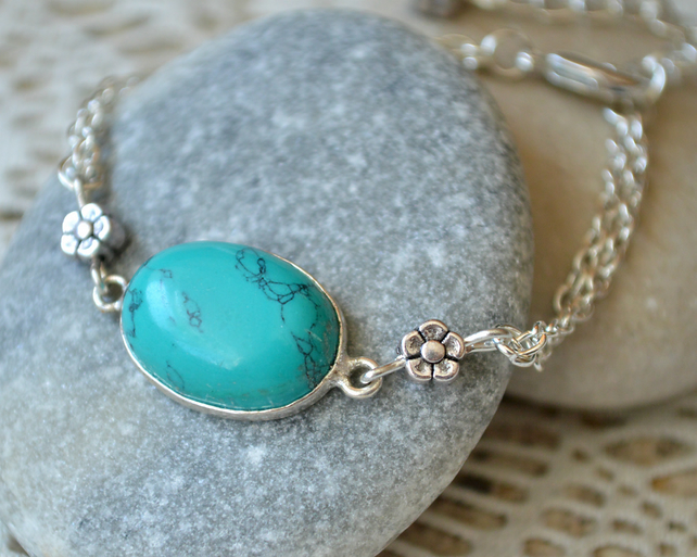 Turquoise and Silver Flower Bracelet