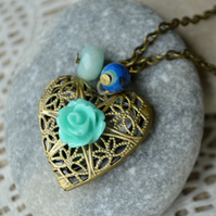 Blue Rose Heart Shaped Locket
