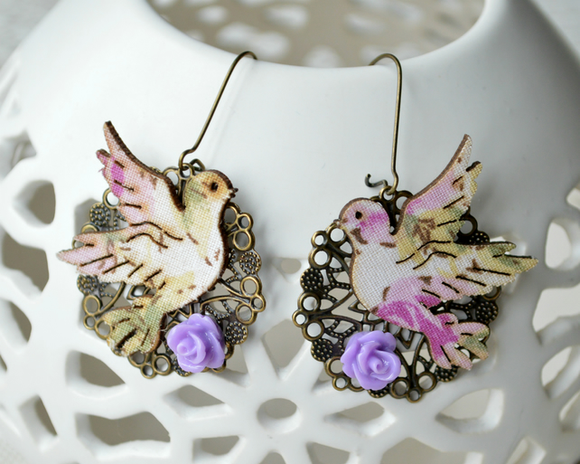Vintage Inspired Earrings with Decoupage Birds and Purple Roses