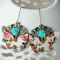 Decoupage Butterfly and Blue Rose Earrings