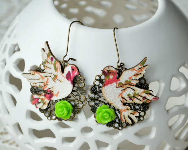 Decoupage Bird Earrings with Green Roses