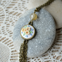Long Polymer Clay Tassle Pendant Necklace