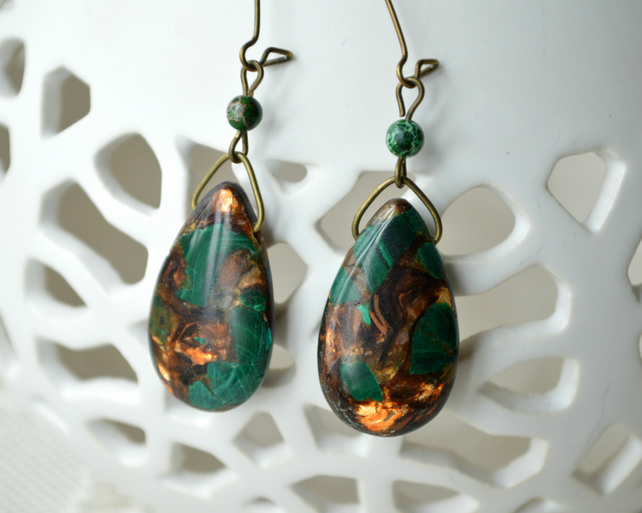 Green & Bronze Jasper Teardrop Earrings