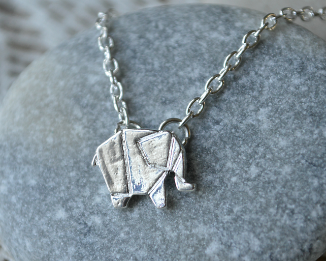 Silver Origami Elephant Necklace