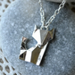Silver Origami Fox Necklace
