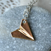 Gold & Silver Origami Paper Aeroplane Necklace