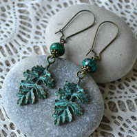 Patina Bronze Leaf Earrings