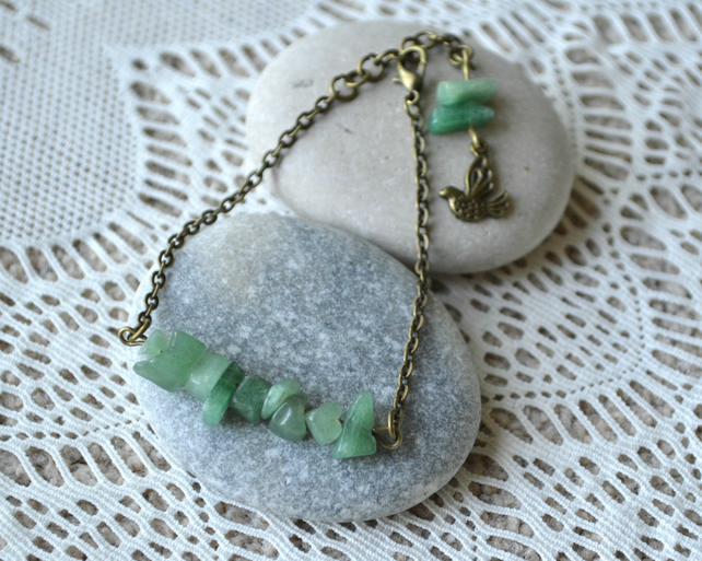 Jade Chip Bead Bracelet with Bird Charm