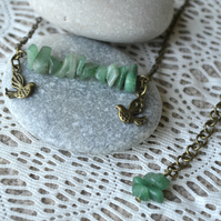 Jade Chip Bead Necklace with Bird Charms