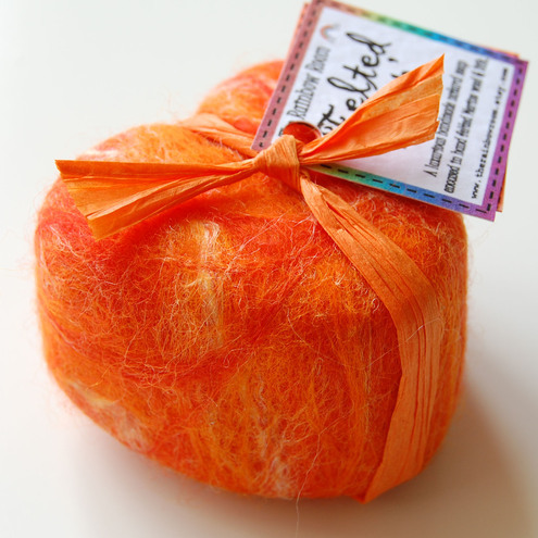 Orange Heart Felted Soap - Cinnamon & Orange in Silk