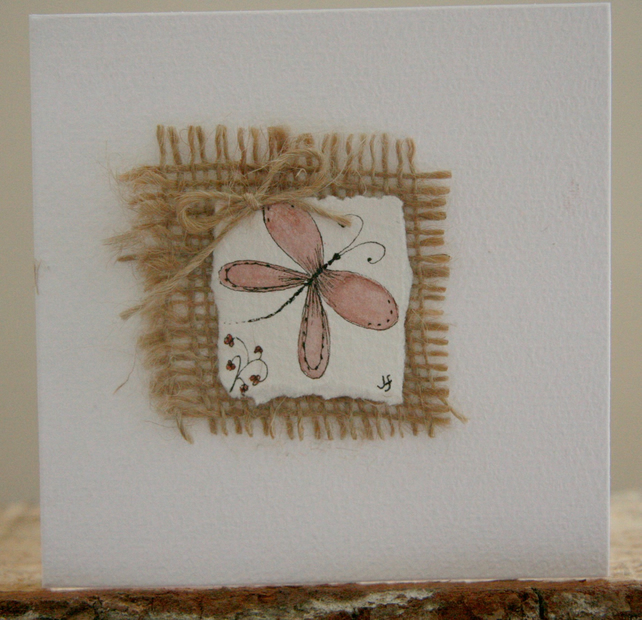 Watercolour butterfly backed with Hessian