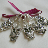 Tibetan Silver Owl Stitch Markers - knitting or crochet