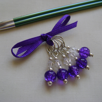 Purple Crackle Glass Stitch Markers for knitting or crochet