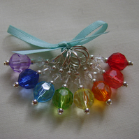 Rainbow Jewels Stitch Markers for knitting or crochet