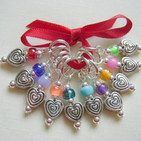 Heart Swirl Stitch Markers - knitting or crochet