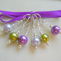 Lavender Garden Pearly Stitch Markers for knitting or crochet
