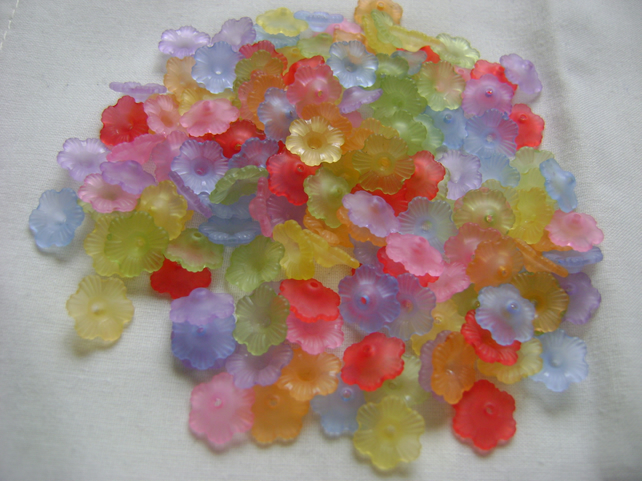 150 Lucite Flower Beads - 12mm multi mix