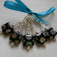 Hand Beaded 'Peacock Star' Knitting or Crochet Stitch Markers