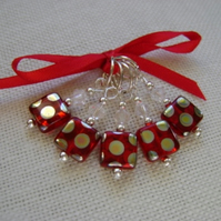 Ruby Red Peacock Spot Stitch Markers - knitting or crochet